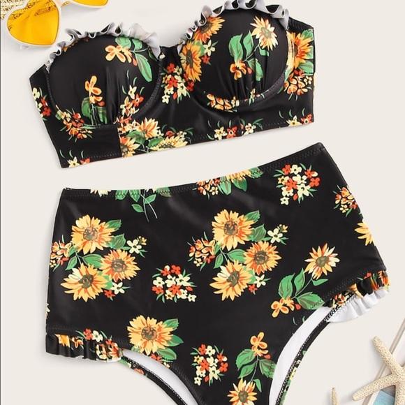 63a2f0ab3c Swim | Sunflower Print Bandeau Top High Waist Bikini M | Poshmark
